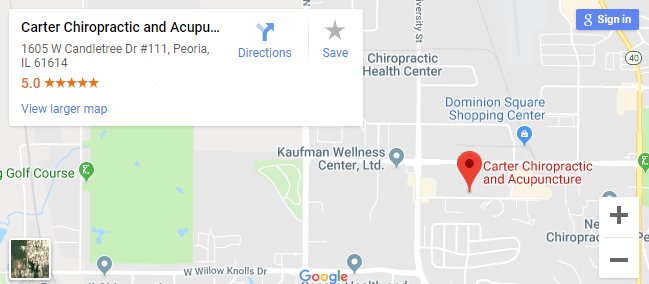 map of Peoria chiropractors